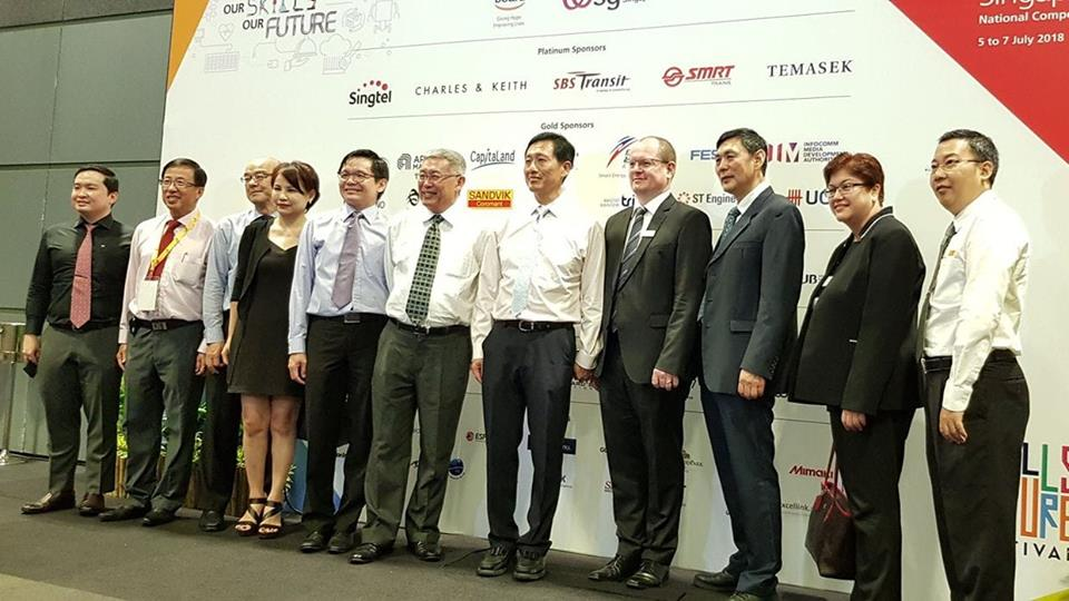 Ong Ye Kung, Education Minister of Singapore (seventh from left) launching the WorldSkills Singapore competition. He was the guest of honour at the programme.