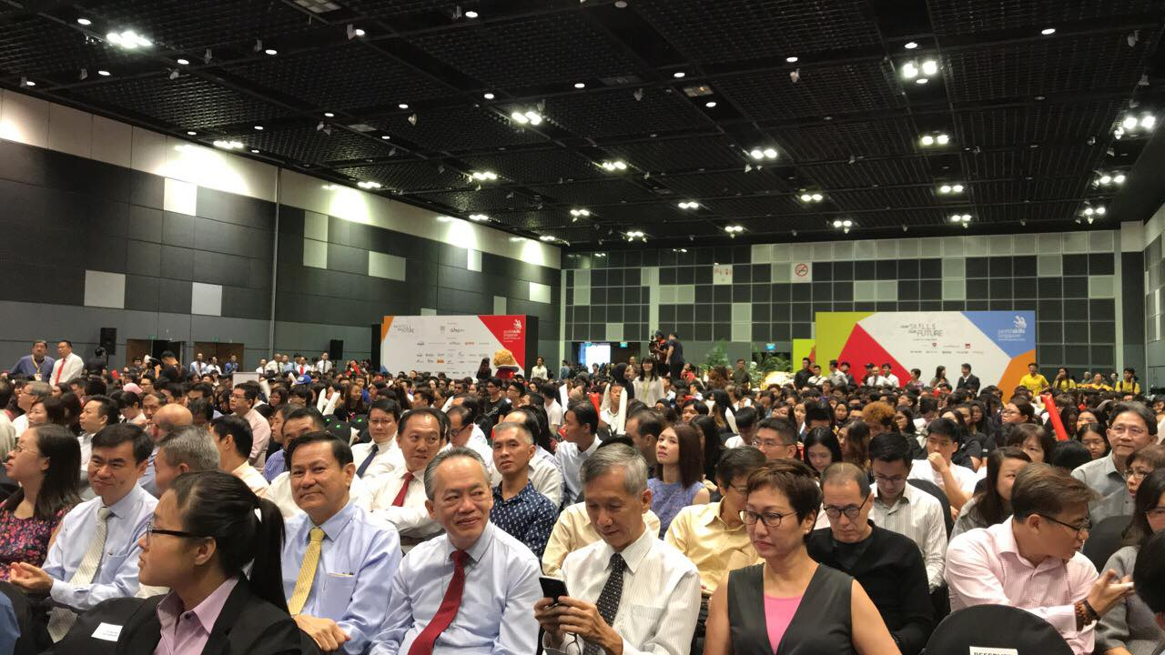Large number of people assembled during the opening of WorldSkills Singapore competition. Photo courtesy: Facebook page of WorldSkills Singapore