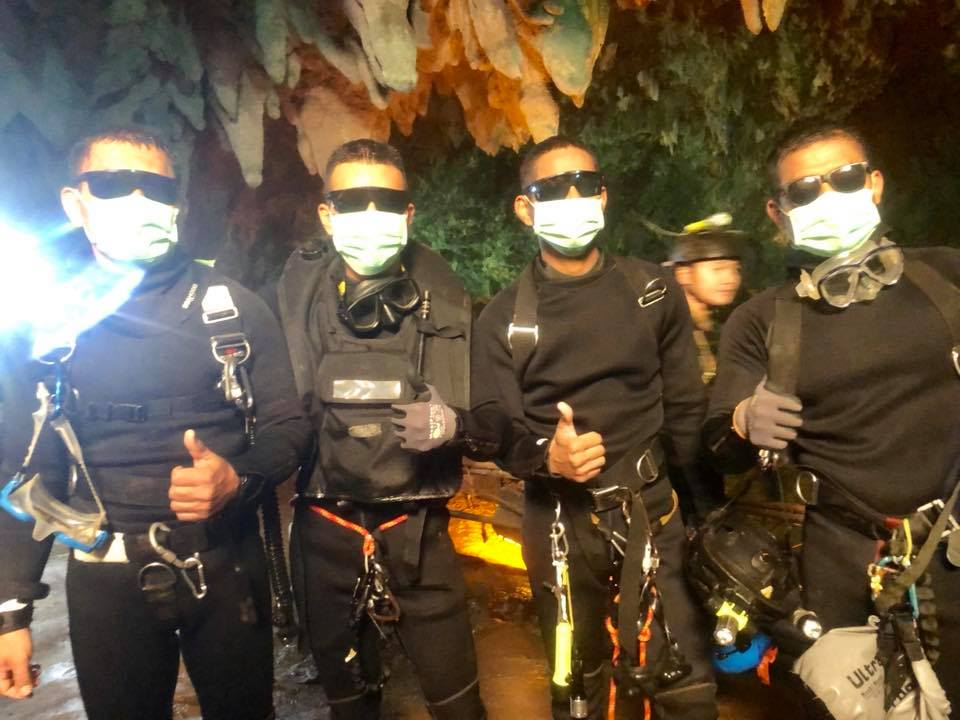 Thai Navy SEALs giving a thumbs up for the successful operation of taking out 12 Thai boys and their football coach from the Tham Luang cave. Photo courtesy: Facebook page of Thai NavySEAL
