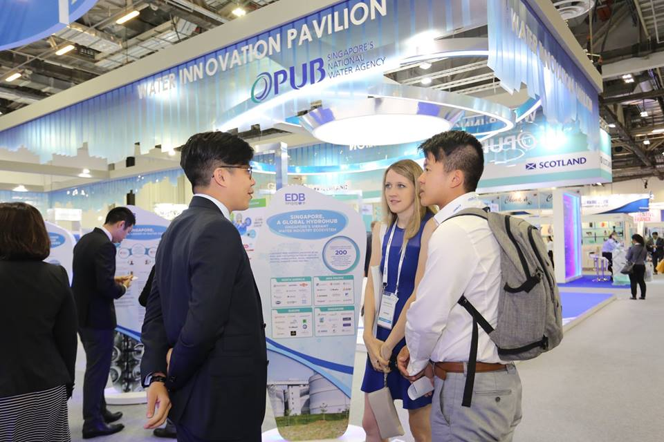 Delegates visiting Water Innovation Pavilion of PUB at the Singapore International Water Week 2018. Photo courtesy: Facebook page of SIWW