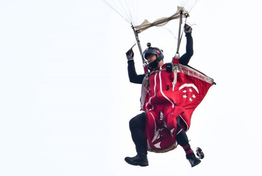 Red Lions will be performing a remarkable feat at NDP 2018 by undertaking 'wingsuit jump' from an incredible height of 3,800 metres. Photo courtesy: Instagram page of thomas_sooth
