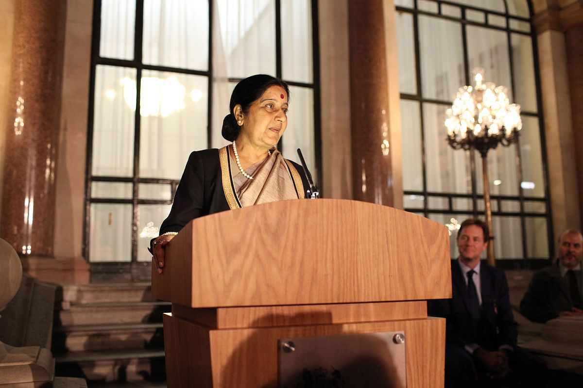 Sushma Swaraj, Indian Minister for External Affairs, informed about the rescue of kidnapped Indian Sanjeev in Malaysia through a tweet. Photo courtesy: Wikimedia