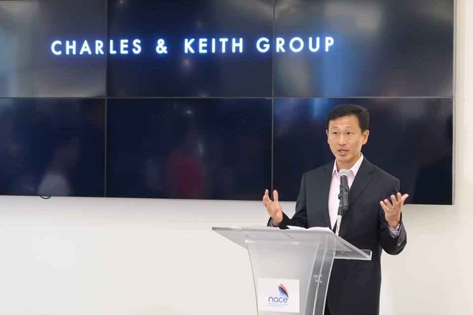 Ong Ye Kung, Education Minister of Singapore speaking about the importance of establishing an in-house training system with quality trainers at the launch of NACE during a visit to fashion brand Charles and Keith. Photo courtesy: Facebook page of SSG