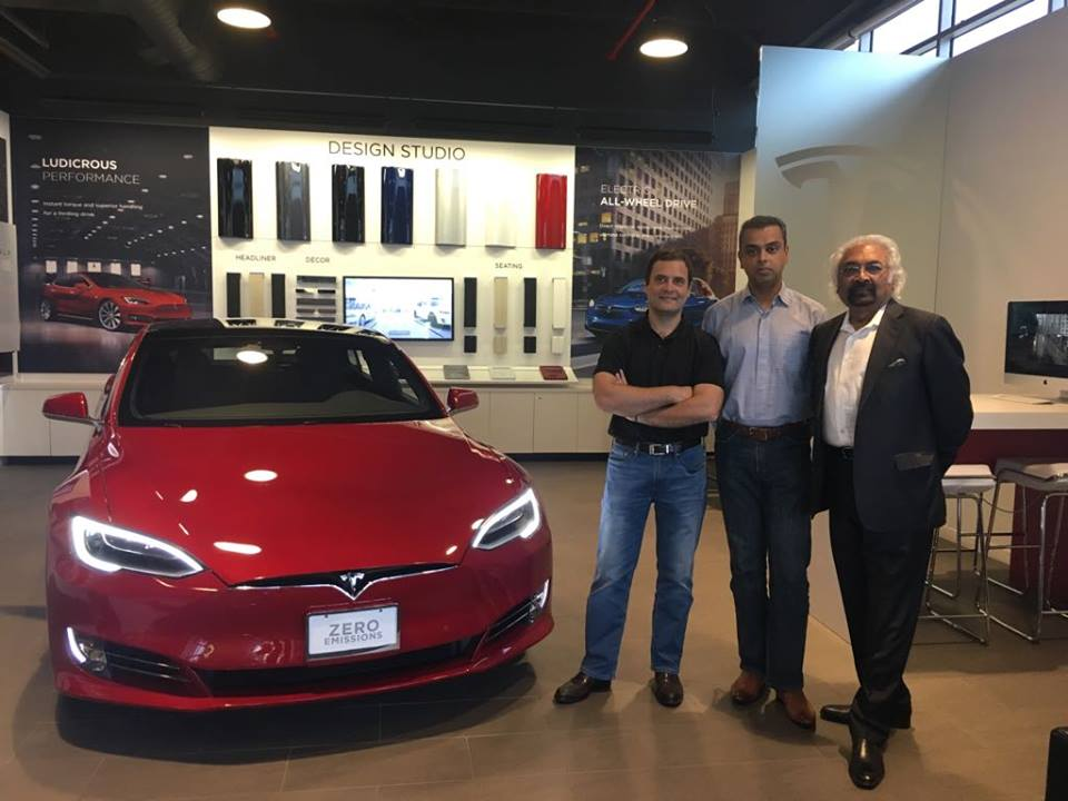 IOC 3 Great visit to a Tesla factory in Fremont, CA with Milind Deora, Rahul Gandhi & Sam Pitroda @IOCHQ
