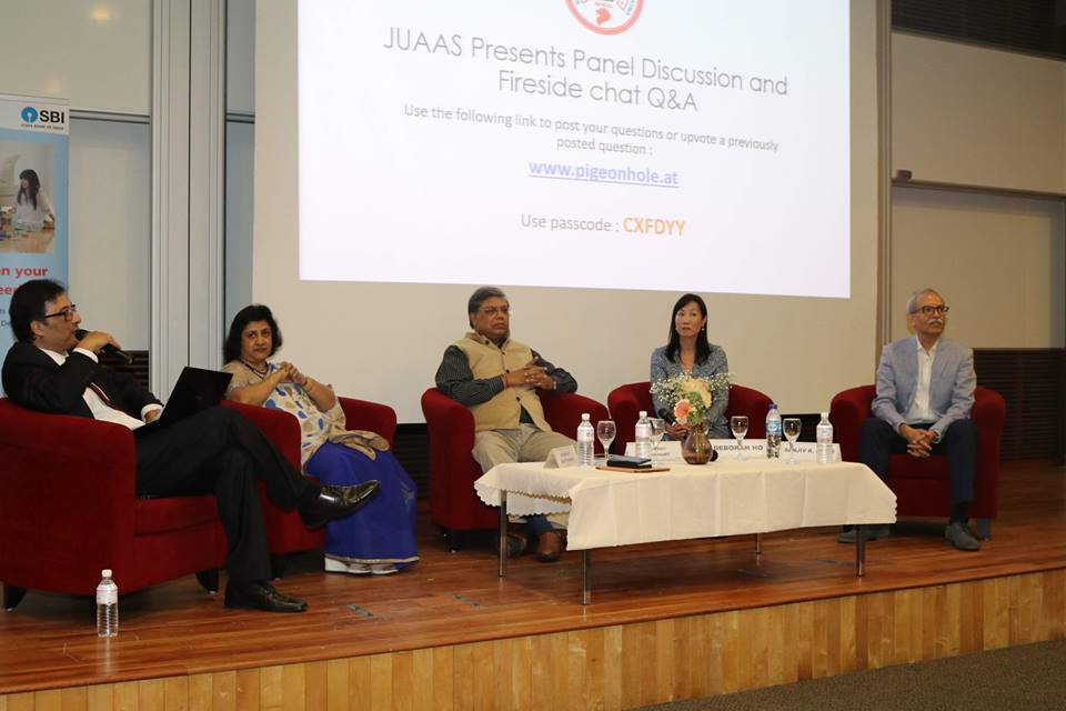 From left: Professor Nilanajn Sen, Arundhati Bhattacharya, Arup Roy Chowdhury of NTPC, Deborah Ho of Black Rock and Sanjiv Aiyar of the IIM Alumni Association, Singapore during a panel discussion. Photo courtesy: Rahul Singh