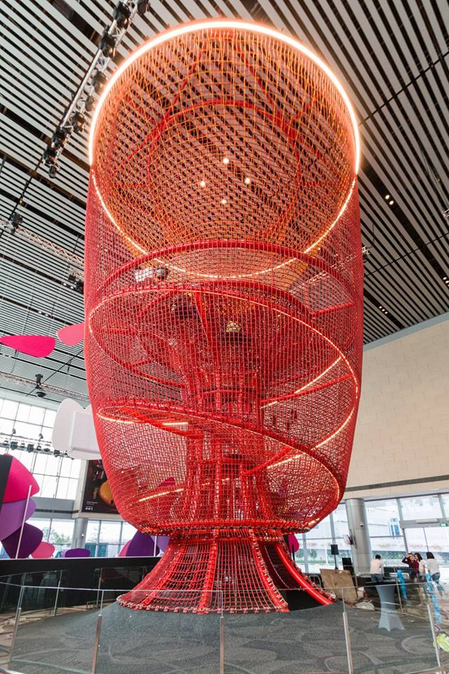 The latest attraction at the Changi Airport is a five-storey crimson red playground christened 'Chandelier' featuring sliding poles and climbing nets. Photo courtesy: Facebook page of Changi Airport