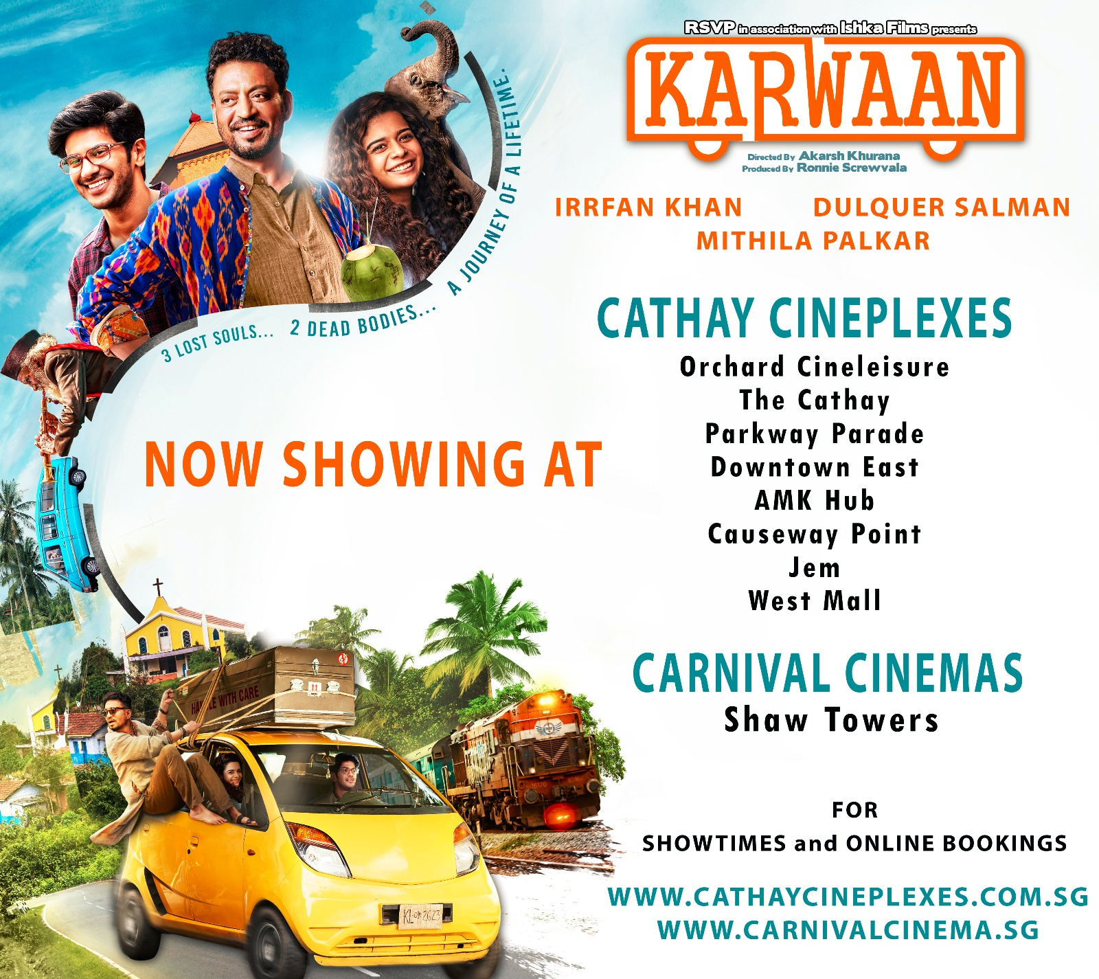Catch Karwaan in these Cathay Cineplexes across Singapore. Photo courtesy: Cathay Cineplexes