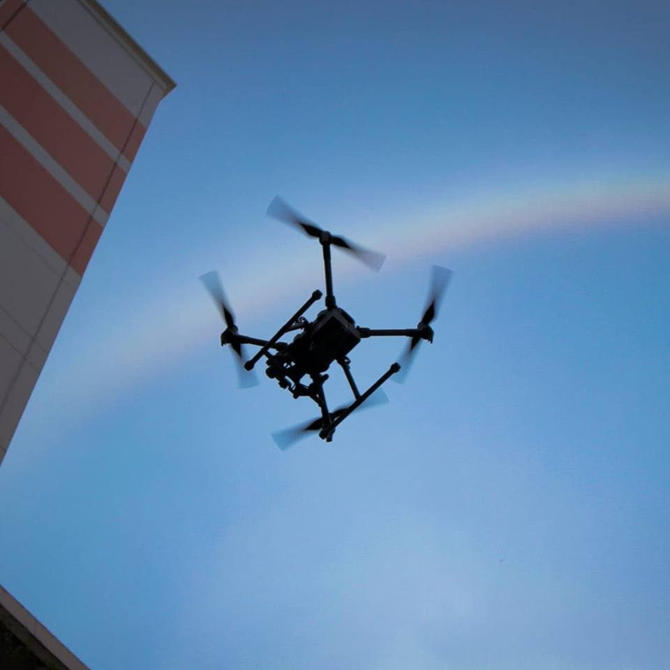 The main purpose of using the drones was for carrying out comprehensive inspections of the buildings especially of areas which are less accessible to workers using gondolas. Photo courtesy: Facebook page of Performance Rotors
