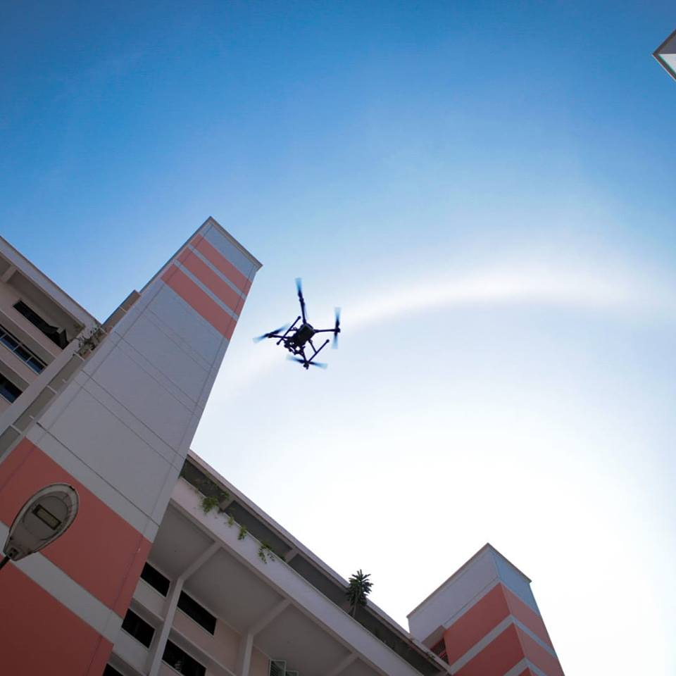 The small-scale, one-week pilot of using drones for inspection of buildings was conducted between July 26 and August 2. Photo courtesy: Facebook page of Performance Rotors