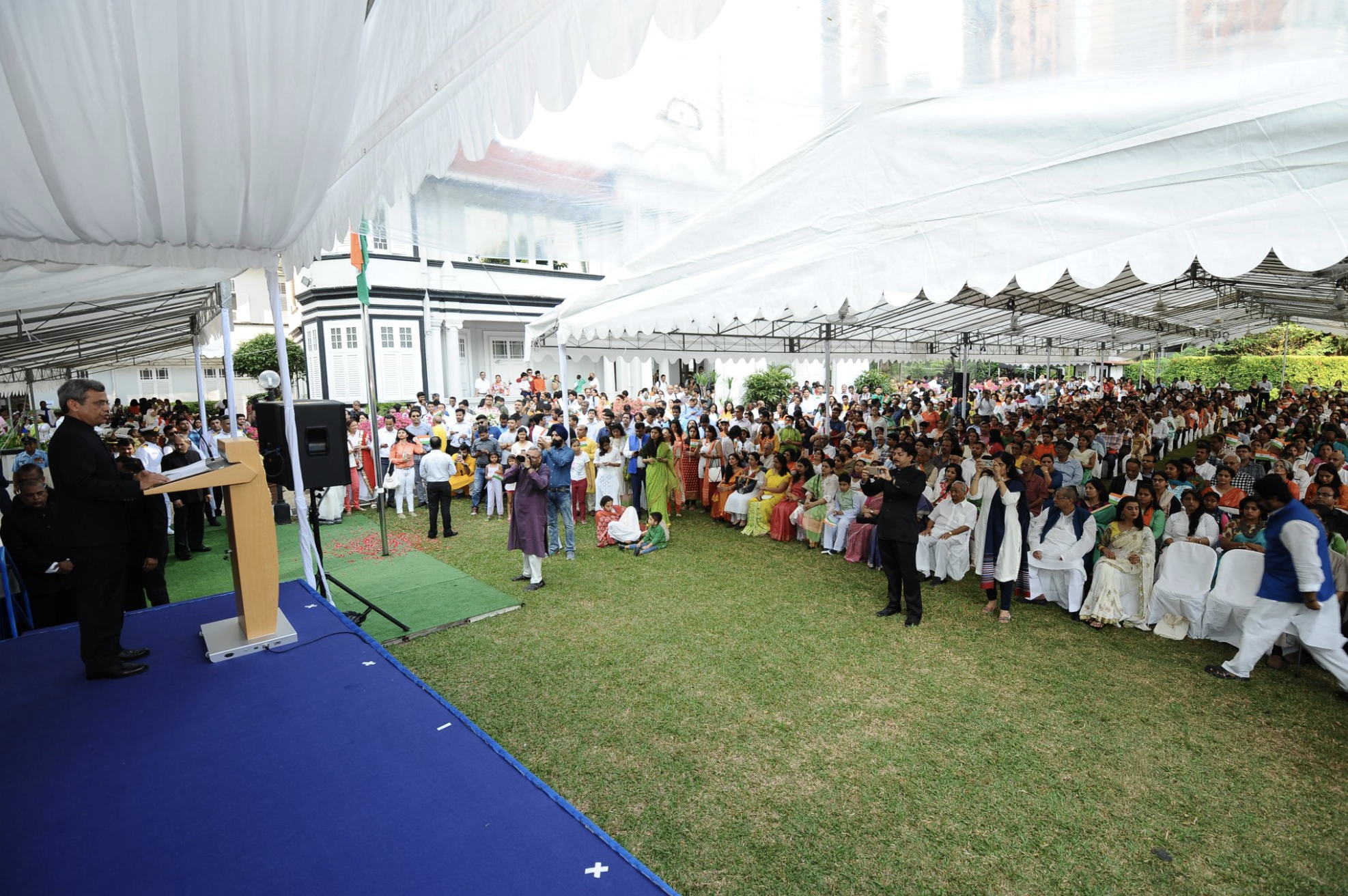 High Commissioner of India, Singapore, Jawed Ashraf speaks at the Independece Day celebrations at HCI on Aug 15, 2018. Photo courtesy: HCI Twitter