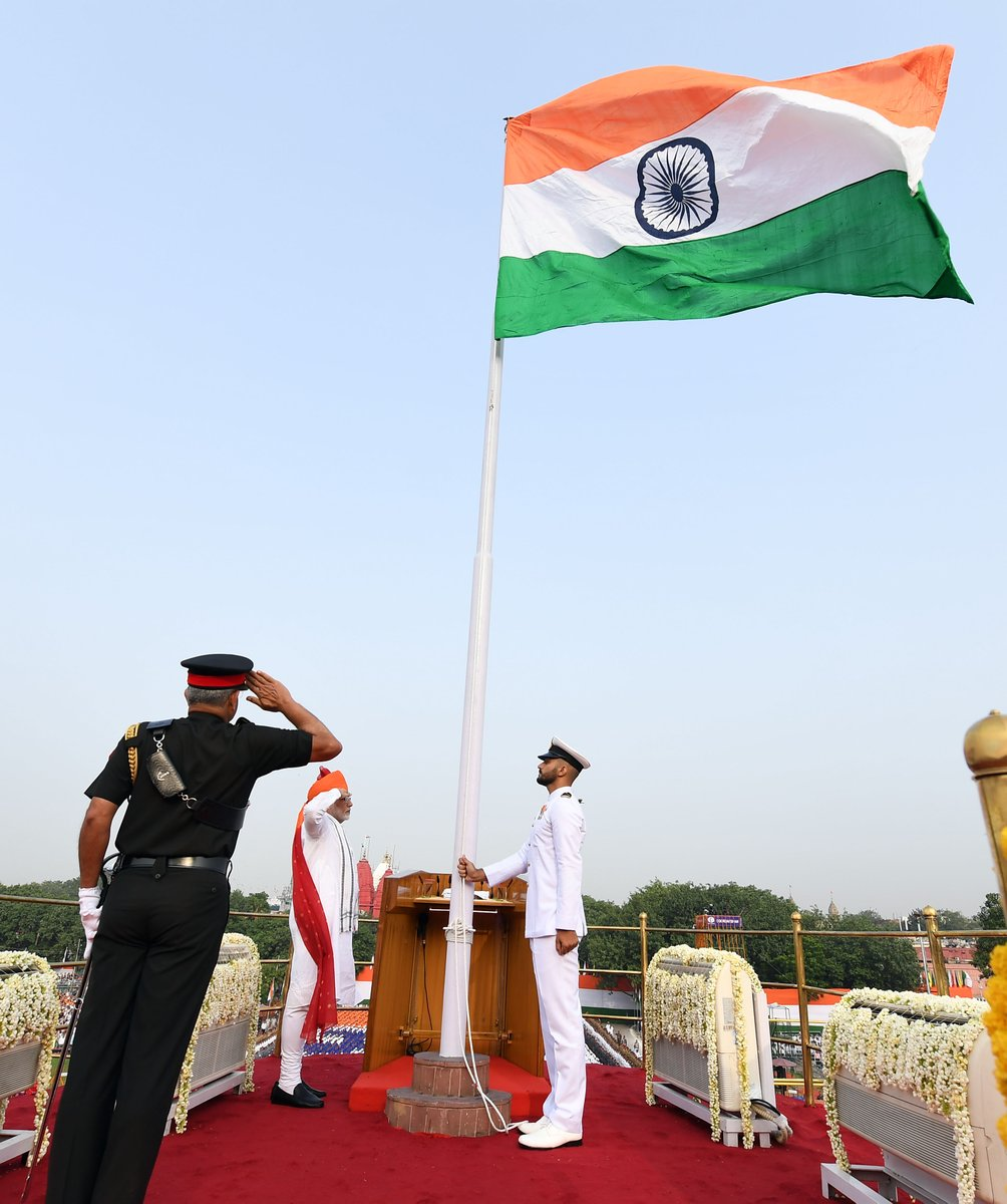 The flag unfurling ceremony on the parapets of Red Fort in New Delhi to mark India's 72nd Independence Day. Photo courtesy: Twitter/@narendramodi