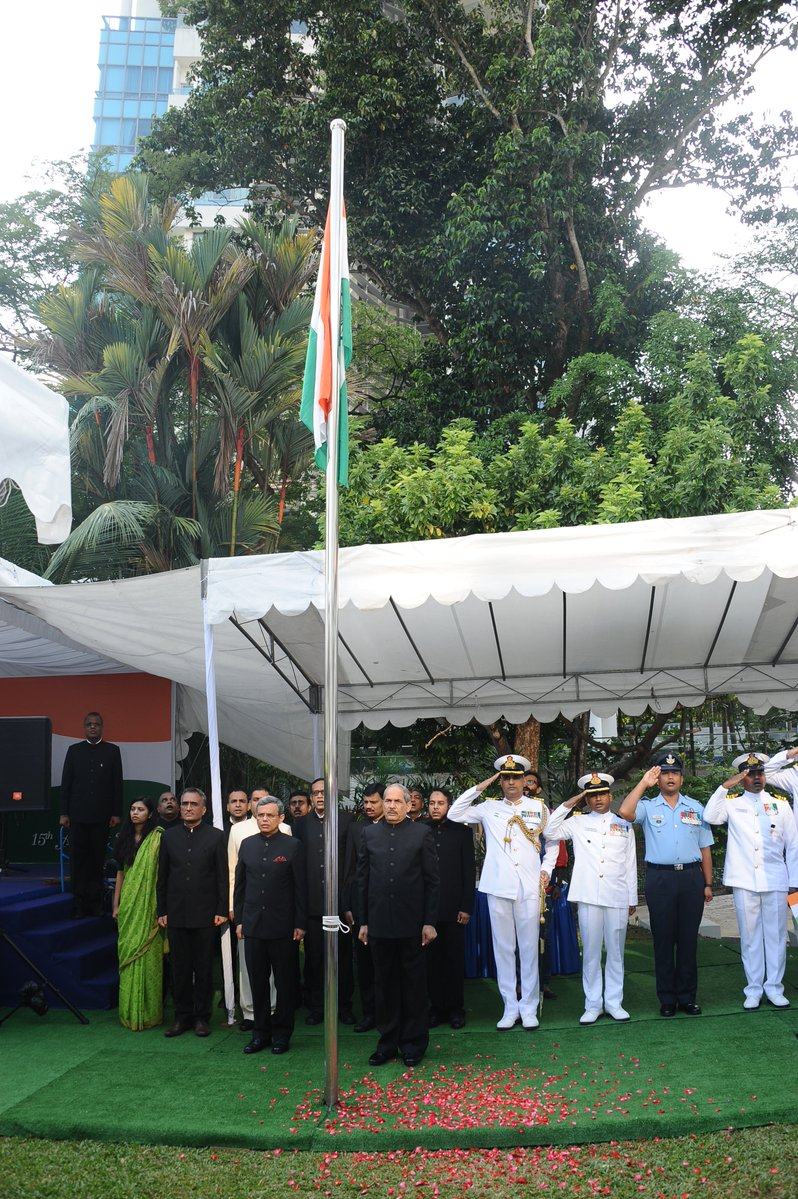 Flag unfurling at the Indian high Commission in Singapore to mark Independence Day. Photo courtesy: HCI