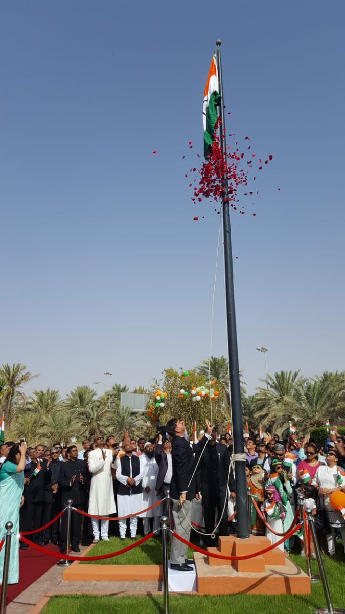 Ambassador H E Mr Ahmad Javed unfurled the National Flag in the midst of hundreds of community members @IndEmbRiyadh
