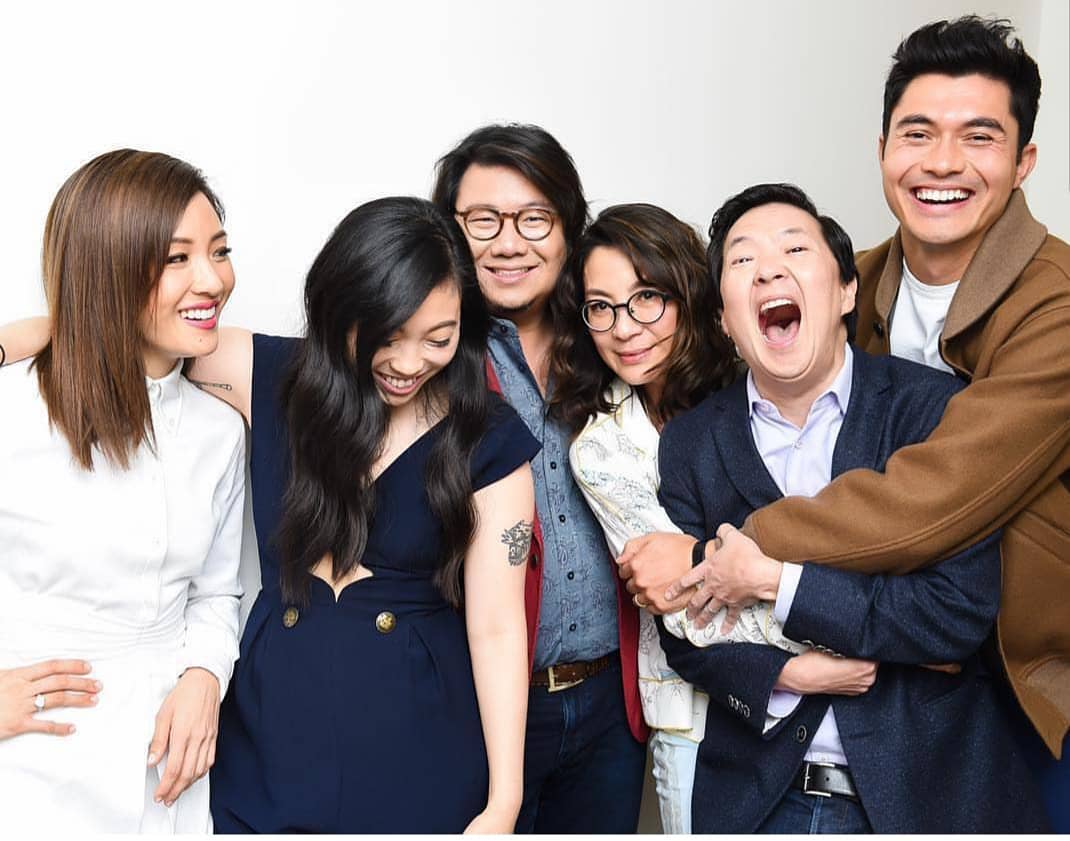 Kevin Kwan with the cast of Crazy Rich Asians. Photo courtesy: Kevin Kwan FB