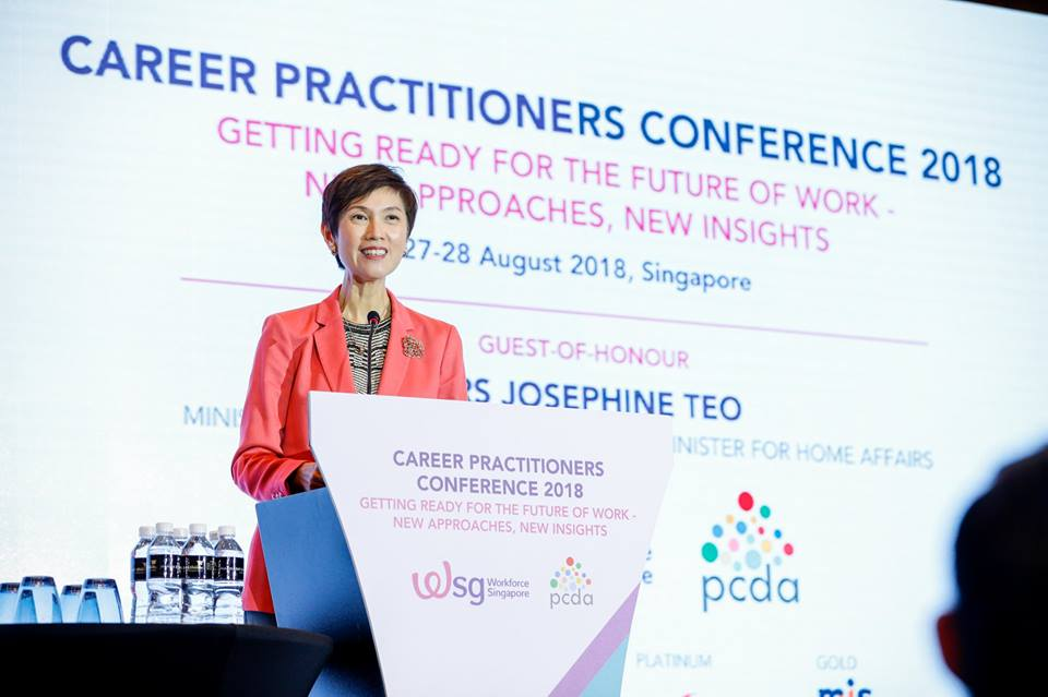 Josephine Teo, Manpower Minister of Singapore speaking during the launch of the Career Development Framework at Career Practitioners Conference 2018. Facebook page of Workforce Singapore
