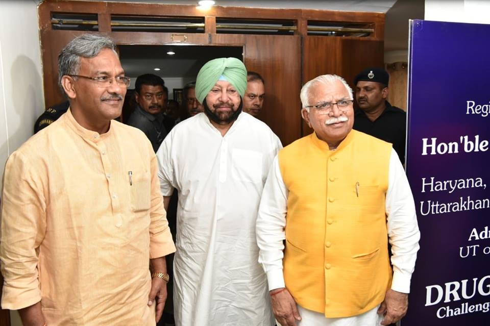 Uttarakhand CM Trivendra Singh Rawat (left) and Punjab CM Capt Amarinder Singh (centre) seen here with Haryana CM Manohar Lal Khattar, will be leading their respective state-leveldelegations to Singapore. Photo courtesy: Facebook/@tsrawatbjp