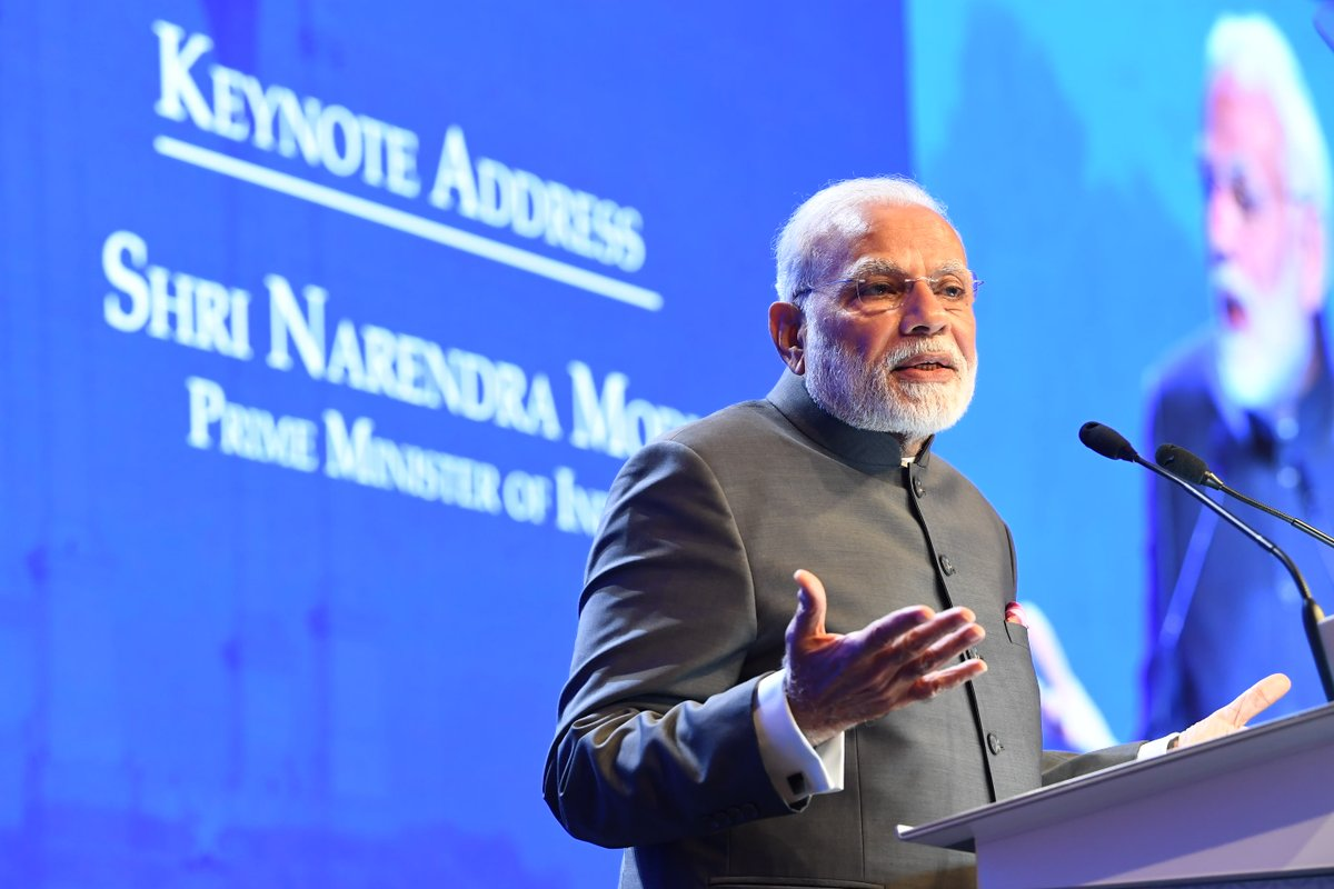 Indian PM Narendra Modi delivering the keynote address at the Shangri La Dialogue. Photo courtesy: PIB