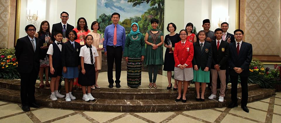 President of Singapore Halimah Yacob along with the recipients of the President's Awards for Teachers at Istana. Photo courtesy: Facebook page of Halimah Yacob