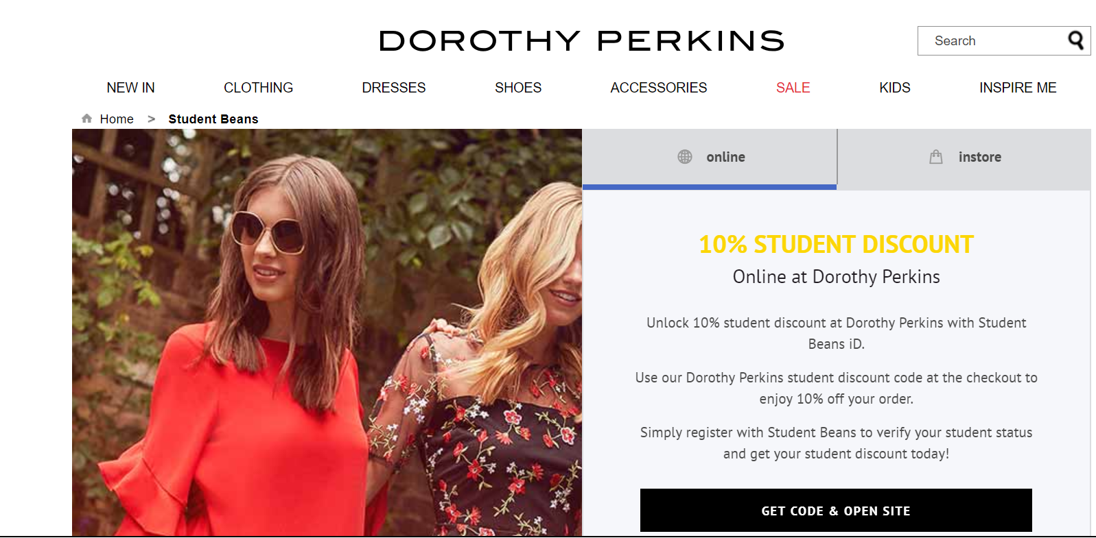 Photo: Screenshot from Dorothy Perkins website