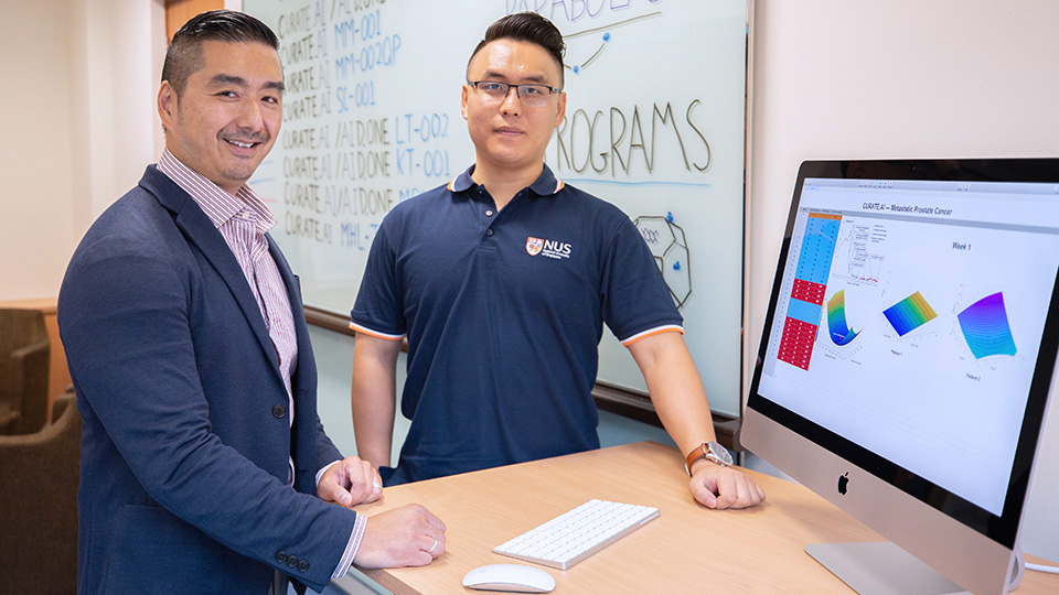 Professor Dean Ho (left) and Mr Theodore Kee (right) from the National University of Singapore, together with their translational research team, harnessed CURATE.AI to successfully treat a patient with advanced cancer, completely halting disease progression. Photo courtesy: NUS