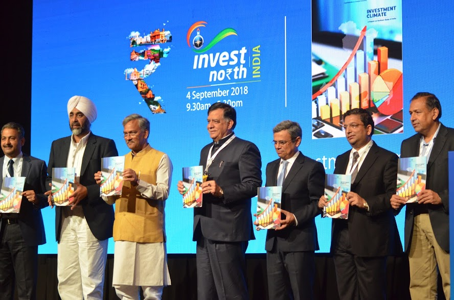 Manpreet Singh Badal, Punjab's Minister for Finance (second from left), Trivendra Singh Rawat, Chief Minister of Uttarakhand (third from left), Satish Mahana, Uttar Pradesh's Minister for Industrial Development, H.E. Jawed Ashraf, High Commissioner of India to Singapore (fifth from left) and Sachit Jain, Chairman of CII Northern Region jointly releasing a booklet 'Investment Climate' at the Invest North 2018 Summit in Singapore. Photo: Connected to India