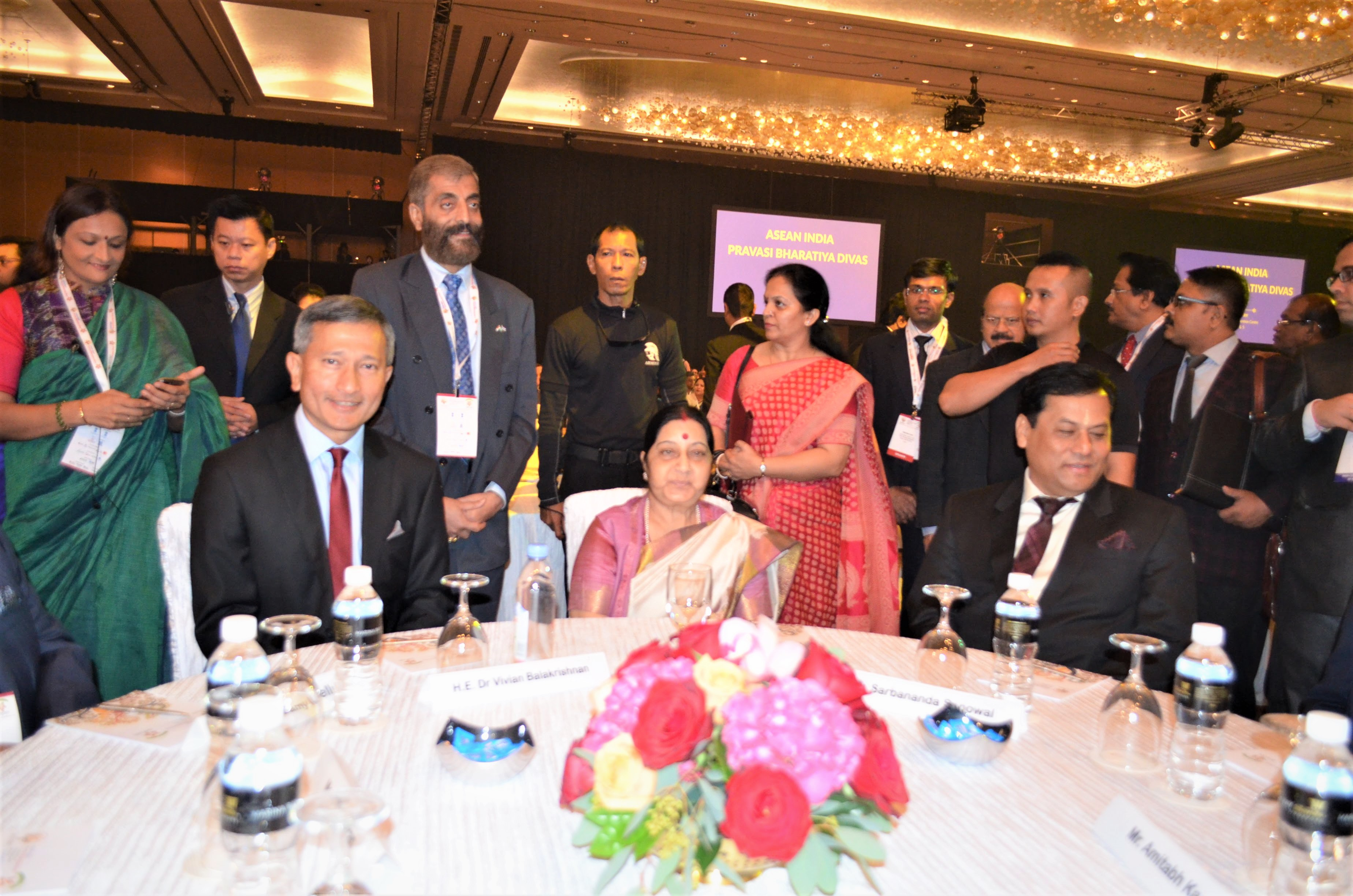 (From left to right) Minister for Foreign Affairs of Singapore Dr Vivian Balakrishnan, Indian Minister of External Affairs Sushma Swaraj and Chief Minister of the Indian state of Assam Sarbananda Sonowal present at the Pravasi Bhartiya Divas in Singapore. Photo: Connected to India