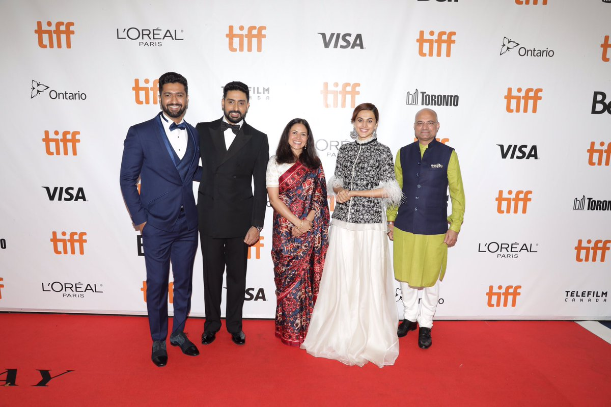 The cast of Manmarziyaan at the Toronto International Film Festival red carpet. Photo courtesy: Twitter/@dineshbhatia