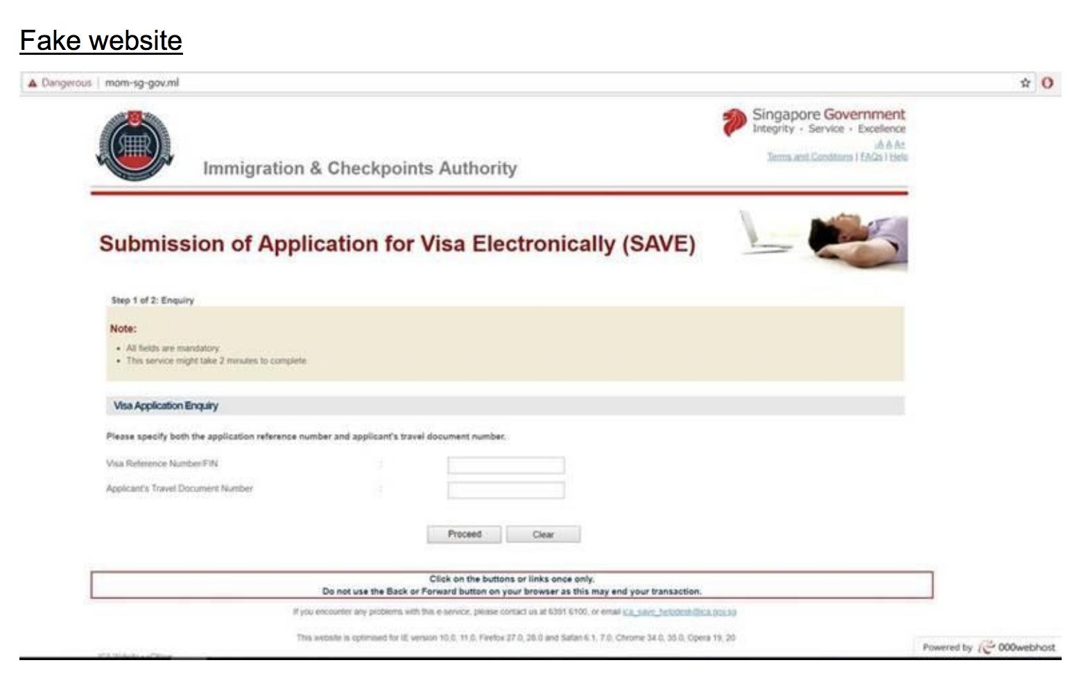 Fake website. Photo courtesy: ICA