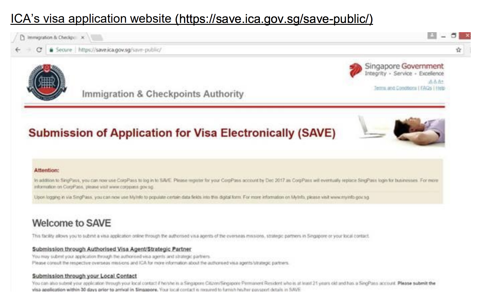 ICA's visa application website. Photo courtesy: ICA
