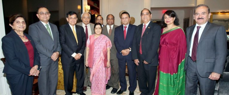 External Affairs Minister Hon'ble @SushmaSwaraj interacts with Community Leaders & members of GOPIO, discussed initiatives for enhancing role of Diaspora in development of #New India.