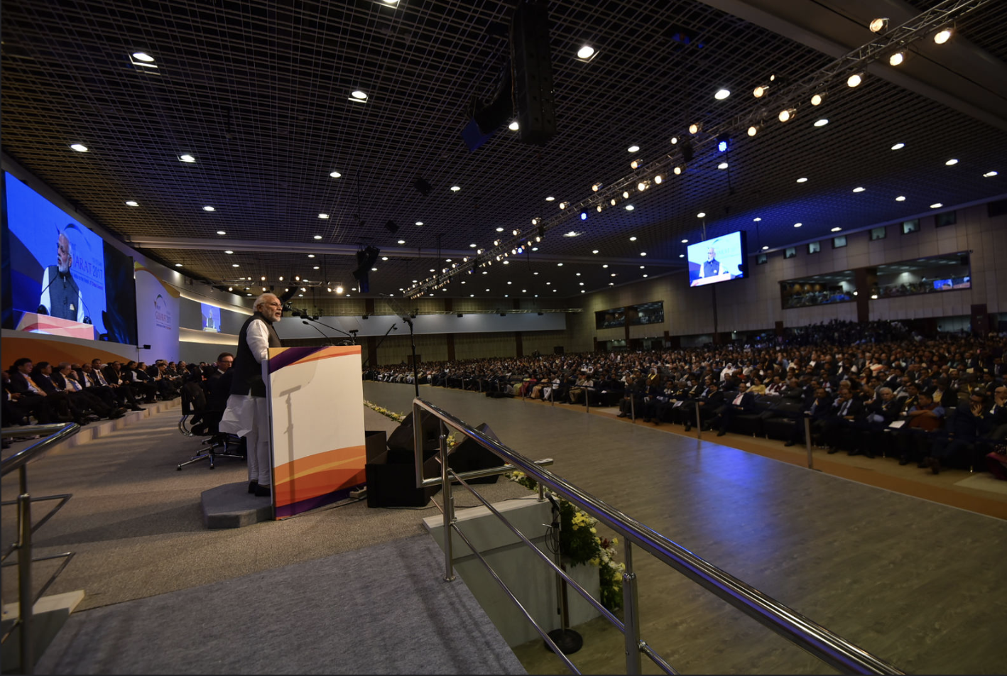 Prime Minister Narendra Modi at the Vibrant Gujarat Global Summit 2017, at Mahatma Mandir, in Gandhinagar, Gujarat on January 10, 2017 Photo courtesy: MEA