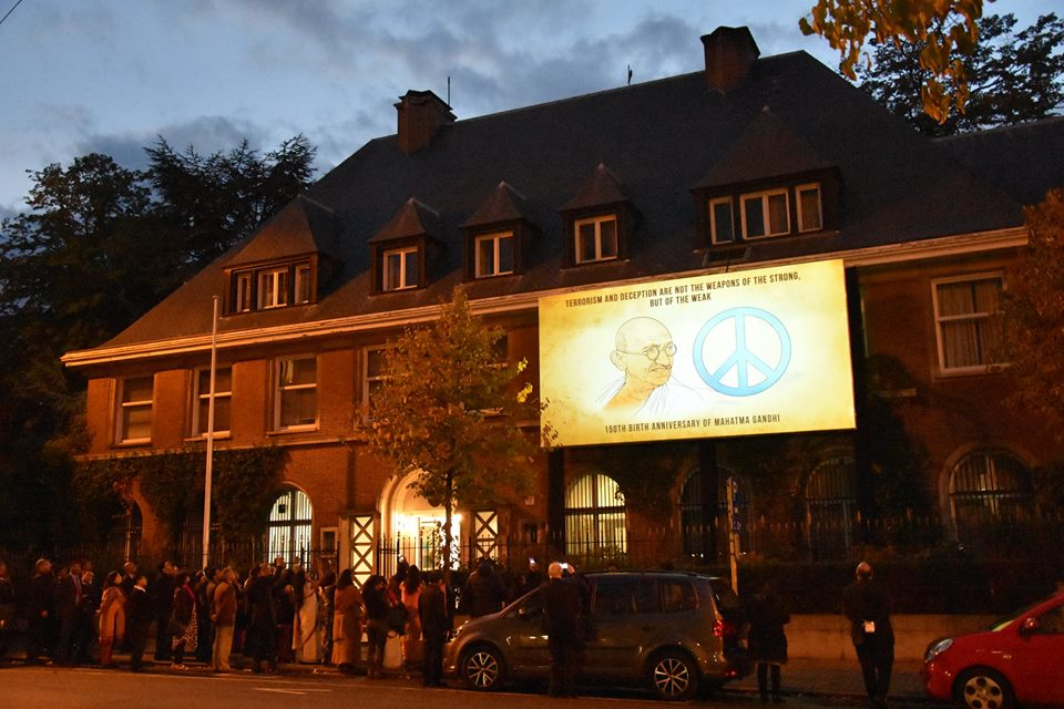 Gandhi@150 LED Projection show on the Chancery façade.