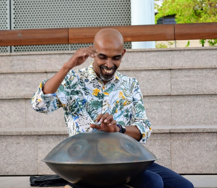 Mohamed Noor, Singapore's foremost percussionist also plays more than thirty percussion instruments from around the world. Photo: Connected to India