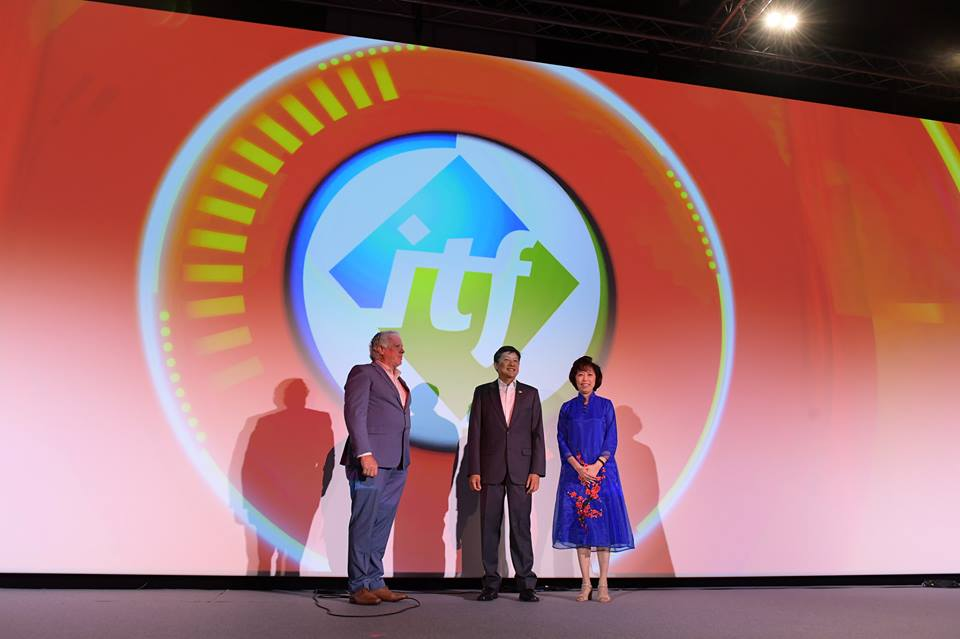 Ng Chee Meng, NTUC secretary-general (middle) opening the International Transport Workers' Federation (ITF) Congress in Singapore. Paddy Crumlin, ITF President (left)and Sister Mary Liew, ITF Singapore National Coordinating Committee Chair and NTUC President are also present on the occasion. Photo courtesy: Facebook page of Ng Chee Meng