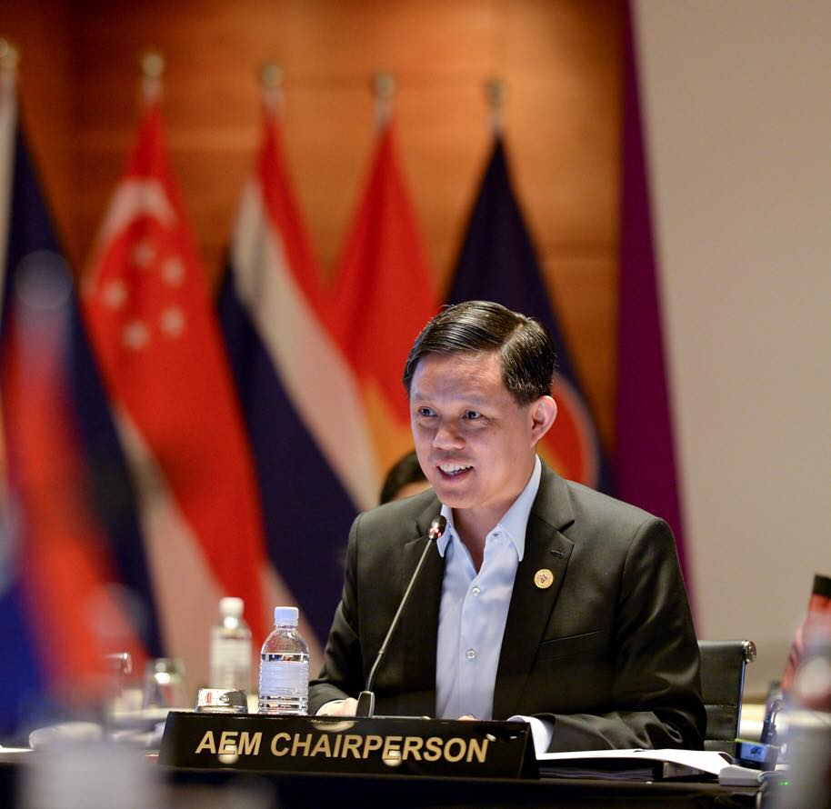Singapore's Minister of Trade and Industry Chan Chun Sing addressing the Ministers from the RCEP participating countries. Photo courtesy: Facebook page of Minister Chan Chun Sing