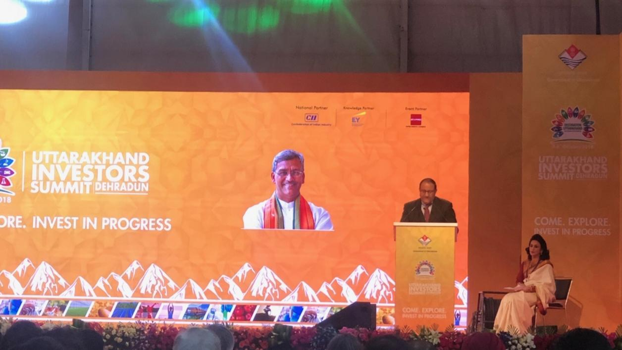 Minister-in-Charge of Trade Relations S Iswaran addressing Uttrakhand Investors Summit, offered to enhance air connectivity, promote tourism and develop Dehradun as smart city. [Photo courtesy: Ministry of Trade and Industry, Singapore