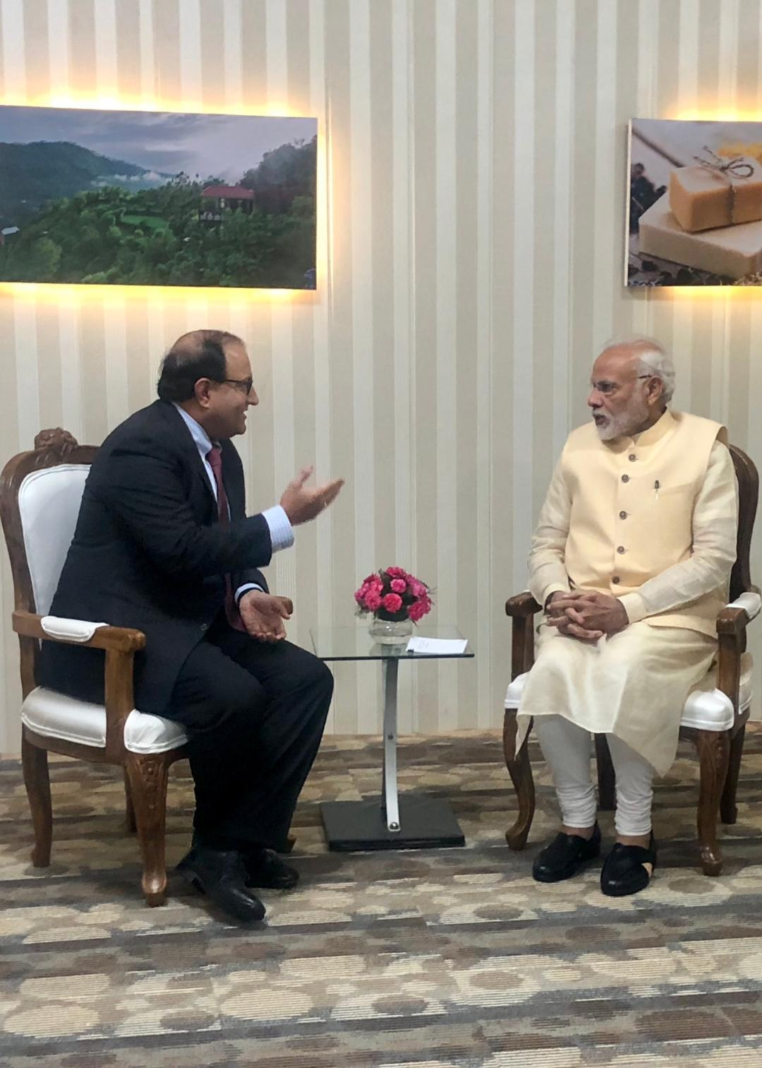 Minister-in-Charge of Trade Relations S Iswaran (left) met Indian Prime Minister Narendra Modi at Uttrakhand Investors Summit and discussed ways to enhance air connectivity. Photo courtesy: Ministry of Trade and Industry, Singapore