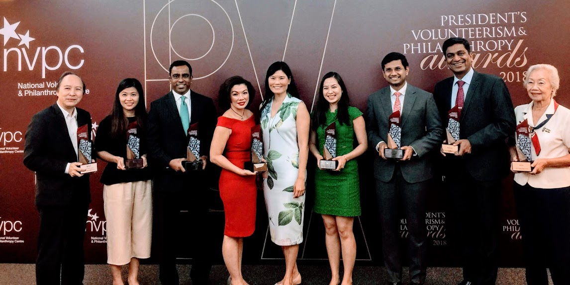 Winners of the PVPA awards 2018 (from left to right) including Associate Professor Peter Pang Yu Hin, Dean of Students Office of Student Affairs, National University of Singapore, Juliet Ng, Head, Communications & Community Engagement Assisi Hospice, Adam Abdur Rahman, Managing Director Head of Corporate Affairs,  Citi Singapore, Stefanie Yuen Thio, Joint Managing Director,  TSMP Law Corporation Mergers, Emily Teng, Founder,  Blessings in a Bag, Abbas Ali Mohamed Irshad, Founder and Director Roses of Peace,  Dr Rupesh Agrawal, Senior Consultant Ophthalmologist and Clinician Scientist at  Tan Tock Seng Hospital and Anna Tham, Girl Guides Singapore Commissioner for Special Projects. Melissa Kwee, CEO of National Volunteer & Philanthropy Centre is standing in the fifth position. Photo: Connected to India