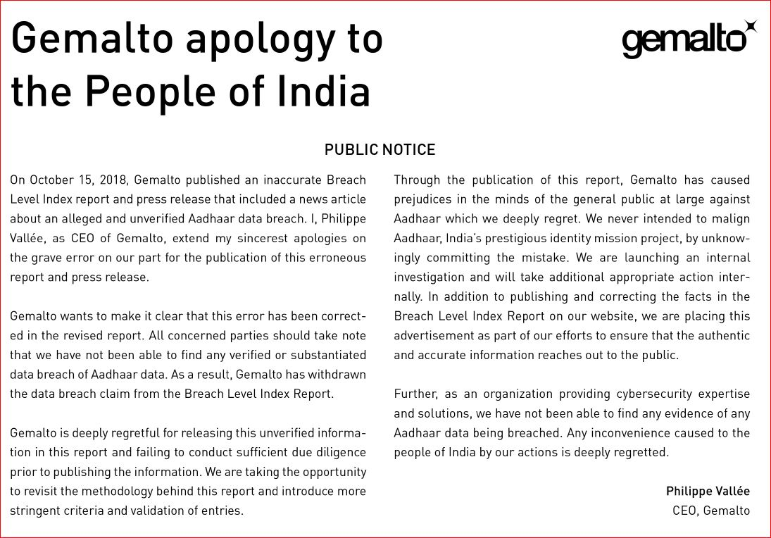 Apology issued by Gemalto CEO Philippe Vallee in The Times Of India Photo Courtesy; TOI, October 27, 2018