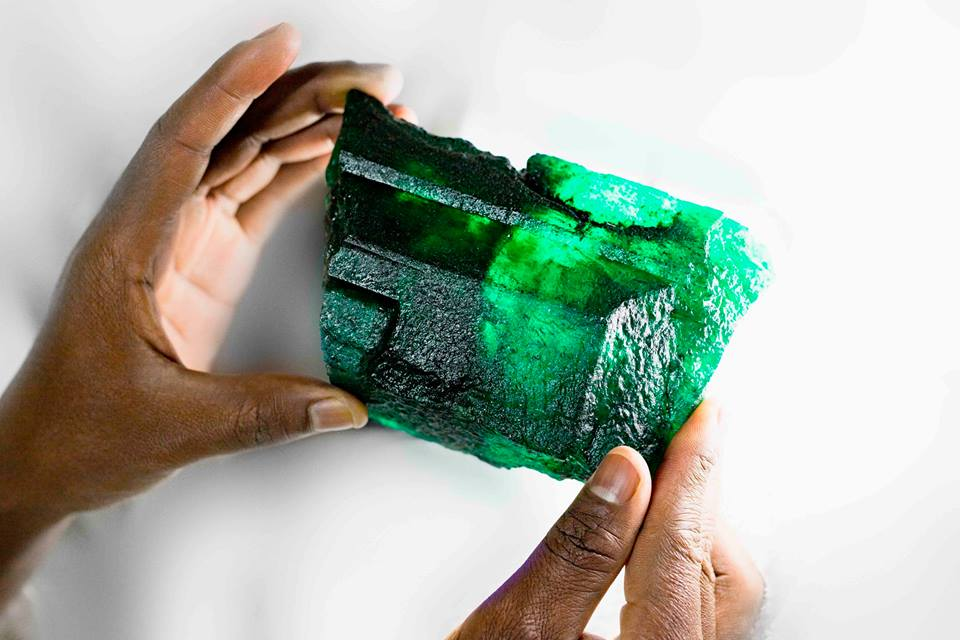 The Lion Emerald will be offered for sale at Gemfields' auction in Singapore in November to approximately 45 approved auction partners. Photo courtesy: Facebook page of Gemfields