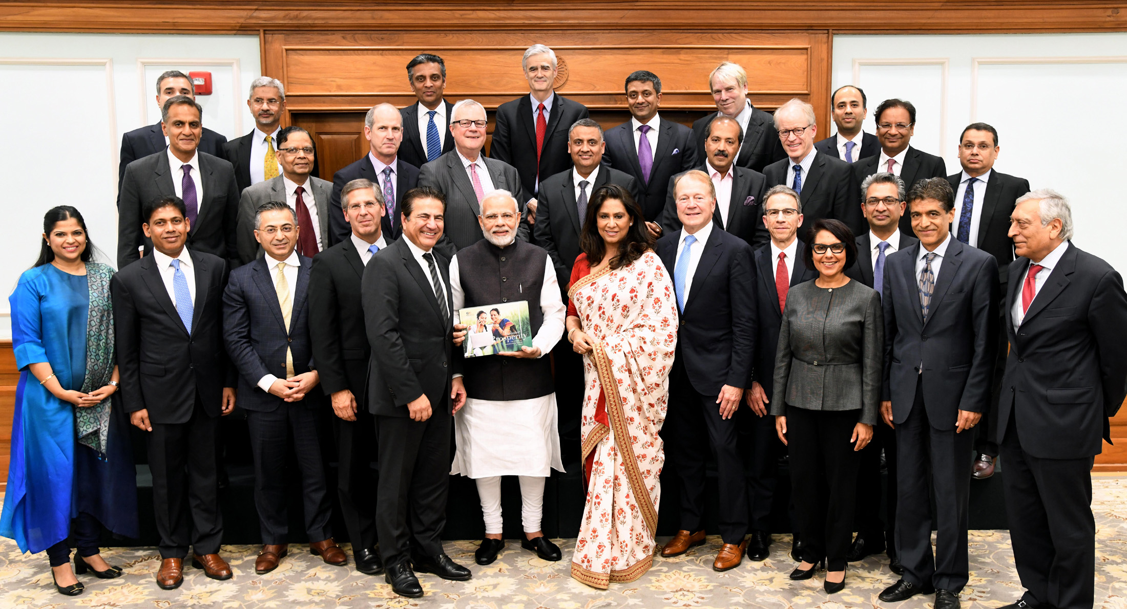 The board members of United States India Strategic Partnership Forum comprising senior industry and business captains call on the Prime Minister Narendra Modi in New Delhi (Photo courtesy: PIB