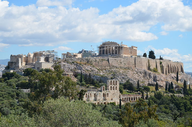 Acropolis is located on a cliff with a flat top, crowned with a classical Greek temple. Photo courtesy: Wikimedia