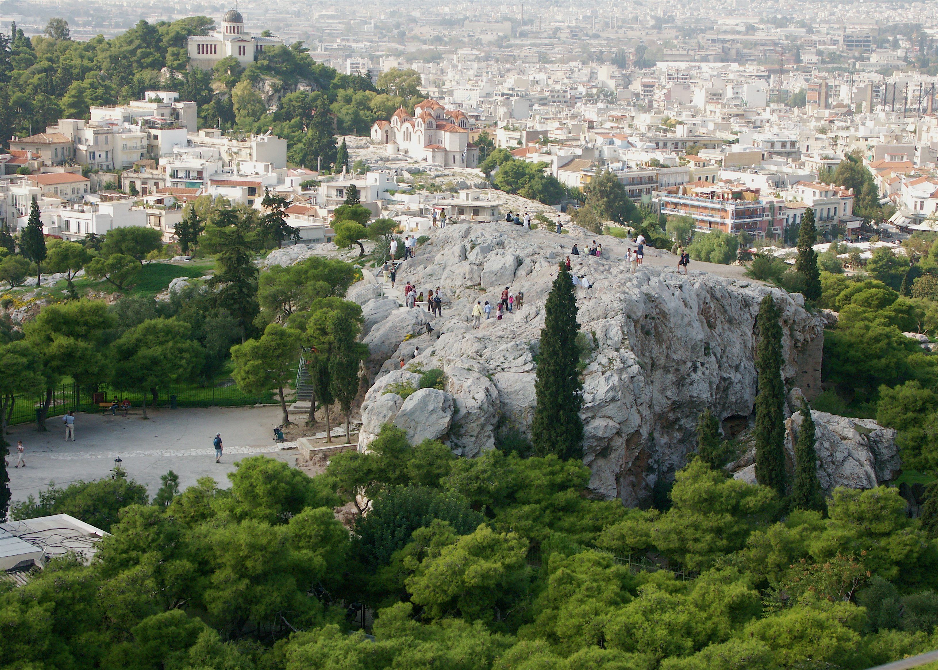 Areopagus Hill offers a stunning view of the Athens city. Photo courtesy: Wikimedia