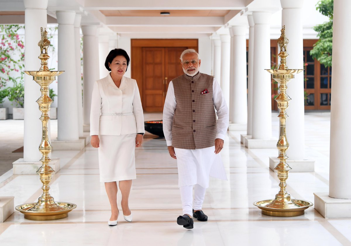First Lady of South Korea Kim Jung-sook along with Indian Prime Minister Narendra Modi during her visit to India. Photo courtesy: Twitter@MEAIndia