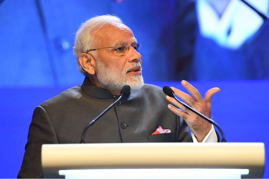 PM Modi delivering the opening address at the Shangri-La Dialogue during his last visit to Singapore in June 2018. Photo courtesy: Twitter/@MEAIndia
