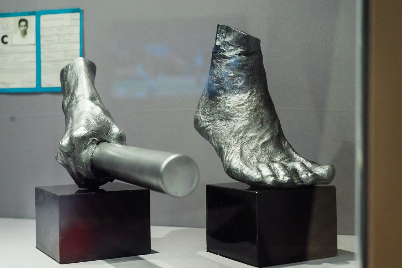 The silver-coloured hand and foot cast of famous  sprinter C Kunalan kept at Singapore Sports Museum. Photo courtesy: Singapore Sports Hub