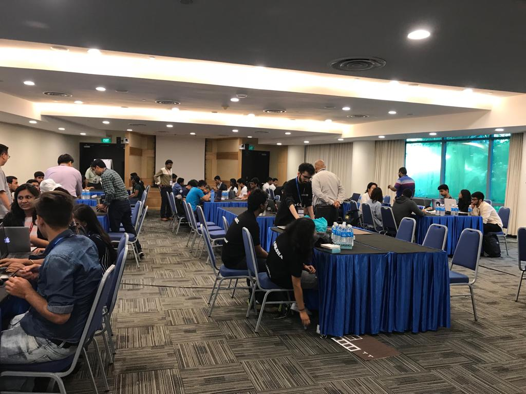 Students taking part in the India Singapore Hackathon 2018: Solutions for Humanity Photo courtesy: High Commission of India, Singapore