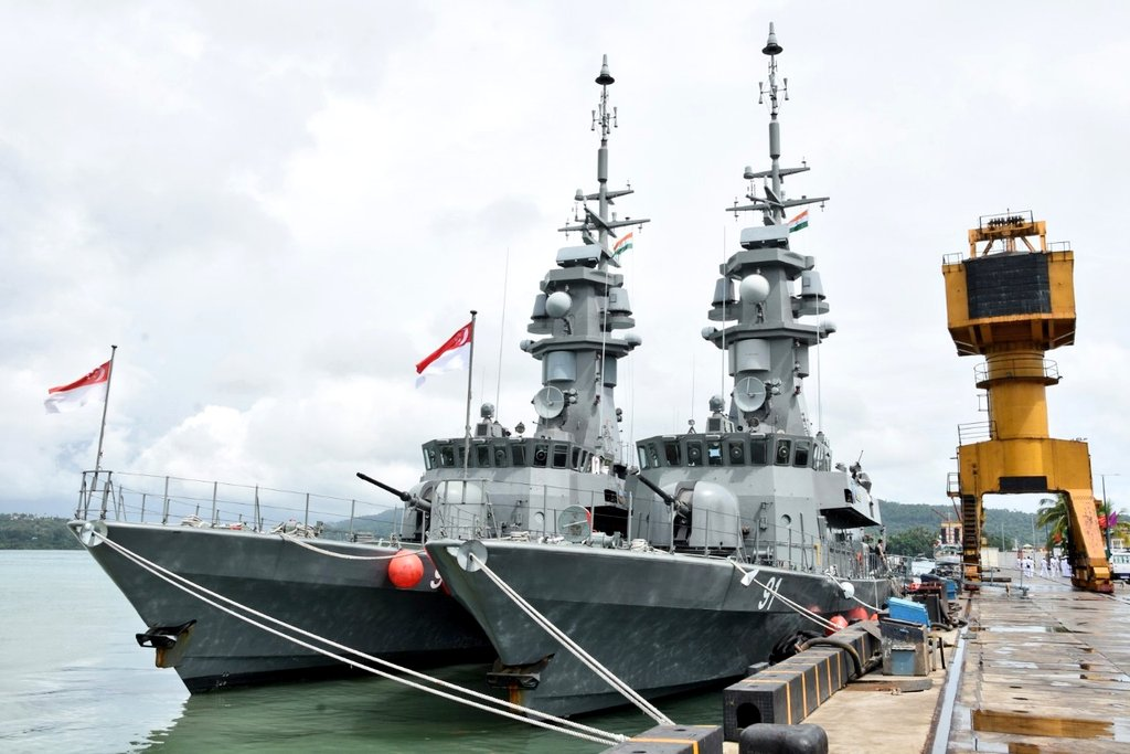Singapore and Indian navies are holding bilateral maritime excercices at Andaman Islands (Photo courtesy: Ministry of Defence, India