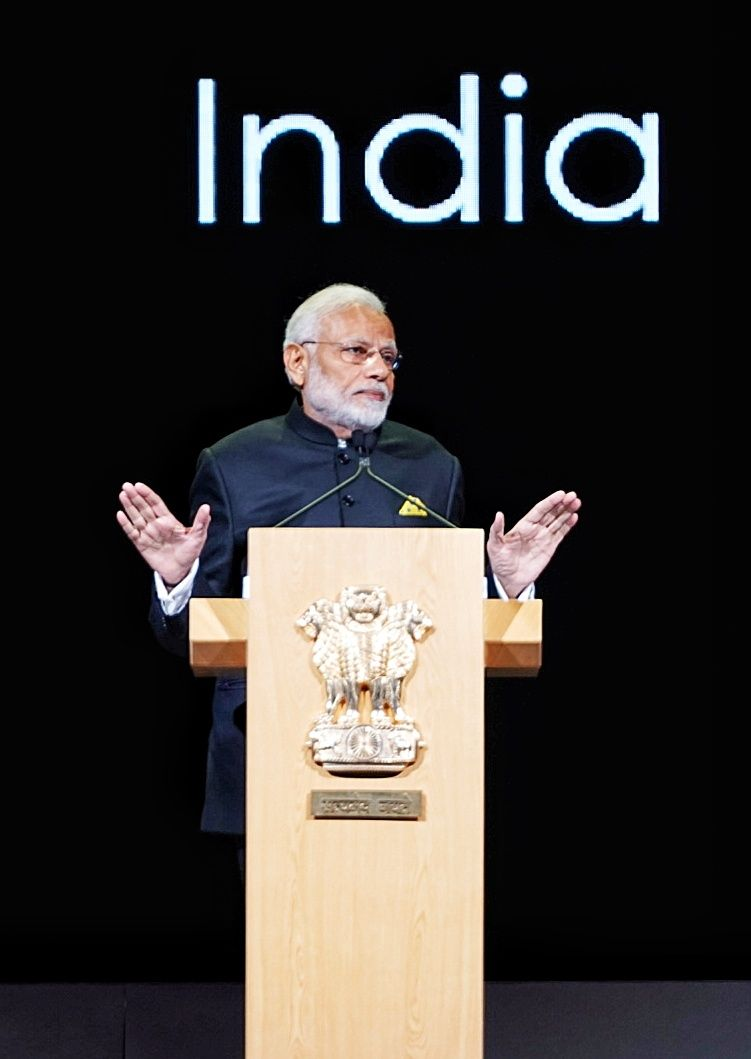 PM Narendra Modi delivering keynote address at Singapore Fintech Festival  (Photo courtesy: Ministry of External Affairs, India