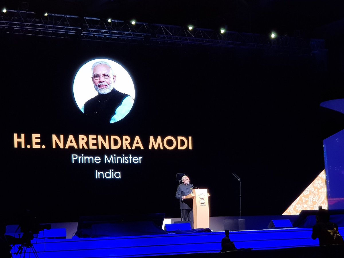 PM Narendra Modi delivering keynote address at Singapore Fintech Festival 2018. Photo courtesy: Ministry of External Affairs, India